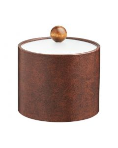 1qt Ice Bucket w/ Acrylic Cover & Brown Wood Ball Knob   -Designer Brown