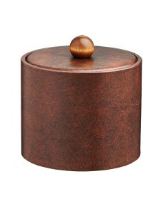 1qt Ice Bucket with Material Cover w/ Brown Wood Ball Knob  -Designer Brown
