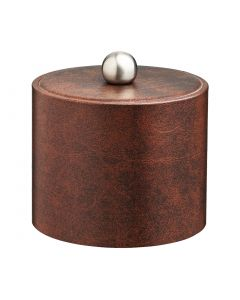 1qt Designer Brown Ice Bucket w/ Material Cover w/  Brushed Stainless Astro Knob