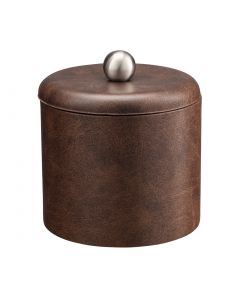 1qt Designer Brown Ice Bucket w/ Dome Material Cover w/  Brushed Stainless Ball Knob