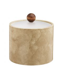 1qt Doeskin Ice Bucket w/ Acrylic Cover and Brown Wood Ball Knob
