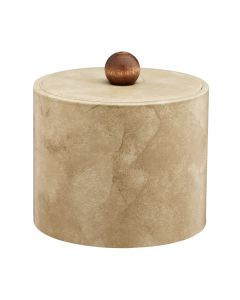 1qt Doeskin Ice Bucket w/ Material Cover w/ Brown Wood Ball Knob