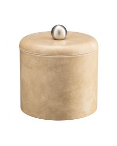 1qt Doeskin Ice Bucket w/ Dome Material Cover w/  Brushed Stainless Ball Knob