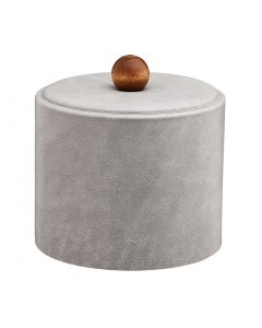 1qt Slate Grey Ice Bucket w/ Material Cover w/ Brown Wood Ball Knob