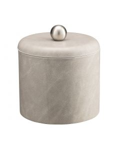 1qt Slate Gray Ice Bucket w/ Dome Material Cover w/  Brushed Stainless Ball Knob