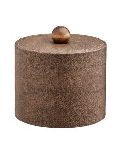 1qt Coffee Italia Ice Bucket w/ Material Cover w/ Brown Wood Ball Knob