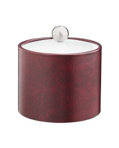 1qt Designer Claret Ice Bucket w/ Acrylic Cover & Brushed Stainless Astro Knob