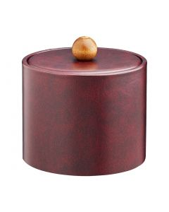 1qt Designer Claret Ice Bucket w/ Material Cover w/ Brown Wood Ball Knob