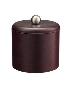 1qt Designer Claret Ice Bucket w/ Dome Material Cover w/  Brushed Stainless Ball Knob