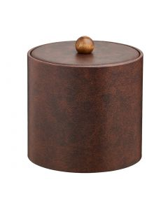2qt Designer Brown Ice Bucket w/ Material Cover with Brown Wood Ball Knob