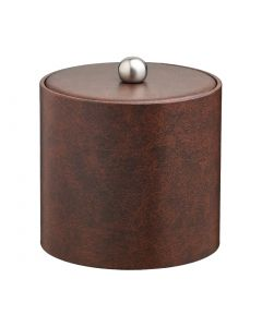 2qt Designer Brown Ice Bucket w/ Material Cover with  Brushed Stainless Astro Knob