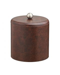 2qt Designer Brown Ice Bucket w/ Dome Material Cover w/  Brushed Stainless Astro Knob