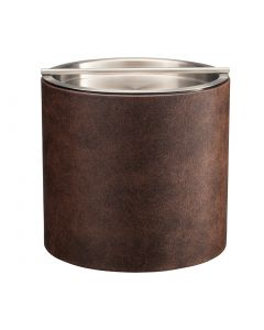 2qt Designer Brown Ice Bucket with Stainless Handlebar Cover