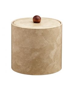 2qt Doeskin Ice Bucket w/ Material Cover w/ Brown Wood Ball Knob