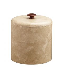 2qt Doeskin Ice Bucket w/ Dome Material Cover w/ Brown Mushroom Knob