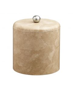 2qt Doeskin Ice Bucket w/ Dome Material Cover w/  Brushed Stainless Astro Knob