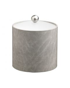 2qt Slate Grey Ice Bucket w/ Acrylic Cover & Brushed Stainless Astro Knob