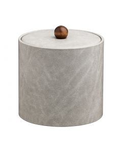 2qt Slate Grey Ice Bucket w/ Material Cover w/ Brown Wood Ball Knob