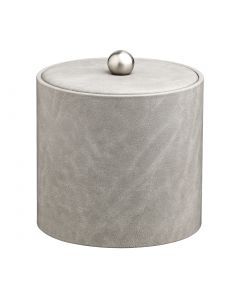 2qt Slate Grey Ice Bucket w/ Material Cover w/  Brushed Stainless Astro Knob
