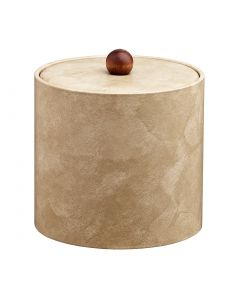 3qt Doeskin Ice Bucket w/ Material Cover w/ Brown Wood Ball Knob