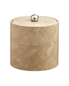 3qt Doeskin Ice Bucket w/ Material Cover w/  Brushed Stainless Astro Knob