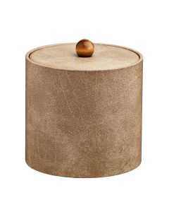 3qt Vanilla Ice Bucket w/ Material Cover with Brown Wood Ball Knob