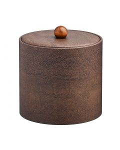3qt Coffee Italia Ice Bucket w/ Material Cover w/ Brown Wood Ball Knob