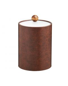 TALL Designer Brown Ice Bucket w/ Acrylic Cover and Brown Wood Ball Knob