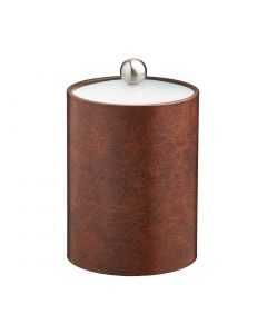 TALL Designer Brown Ice Bucket w/ Acrylic Cover & Brushed Stainless Astro Knob
