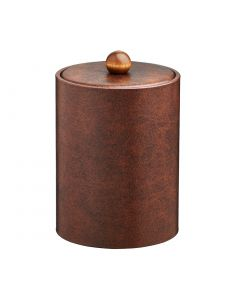 TALL Designer Brown Ice Bucket w/ Material Cover w/ Brown Wood Ball Knob