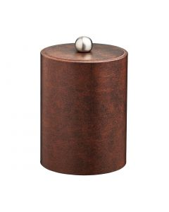 TALL Designer Brown Ice Bucket w/ Material Cover w/  Brushed Stainless Astro Knob