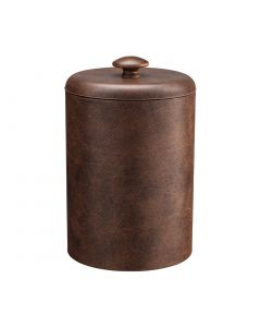 TALL Designer Brown Ice Bucket w/ Dome Material Cover w/ Brown Mushroom Knob