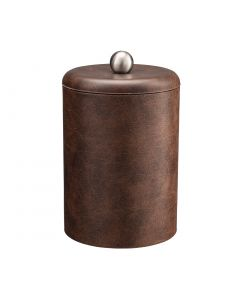 TALL Designer Brown Ice Bucket w/ Dome Material Cover w/  Brushed Stainless Ball Knob