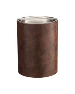 TALL Designer Brown Ice Bucket with Stainless Handlebar Cover