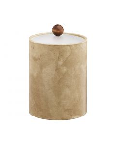 TALL Doeskin Ice Bucket w/ Acrylic Cover & Brown Wood Ball Knob