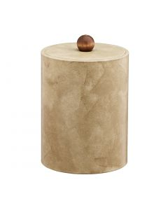 TALL Doeskin Ice Bucket w/ Material Cover w/ Brown Wood Ball Knob