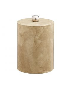 TALL Doeskin Ice Bucket w/ Material Cover w/  Brushed Stainless Astro Knob