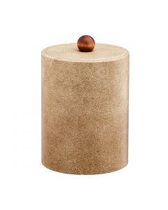 TALL Vanilla Ice Bucket w/ Material Cover w/ Brown Wood Ball Knob