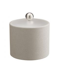 1qt Ice Bucket w/ Acrylic Cover w/ Brushed Stainless Ball Knob: SHAGREEN PARCHMENT