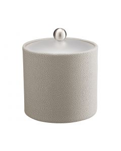 2qt Ice Bucket w/ Acrylic Cover w/ Brushed Stainless Ball Knob: SHAGREEN PARCHMENT