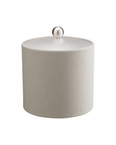 3qt Ice Bucket w/ Acrylic Cover w/ Brushed Stainless Ball Knob: SHAGREEN PARCHMENT