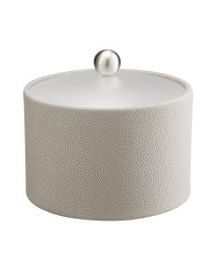 MESA Ice Bucket w/ Acrylic Cover w/ Brushed Stainless Ball Knob: SHAGREEN PARCHMENT