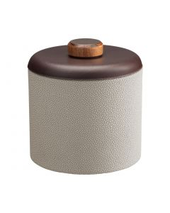 1qt Ice Bucket w/ Dome Material w/ Brown Wood Disk: SHAGREEN PARCHMENT