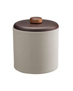 2qt Ice Bucket w/ Dome Material w/ Brown Wood Disk: SHAGREEN PARCHMENT