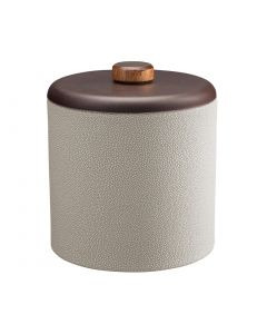 3qt Ice Bucket w/ Dome Material w/ Brown Wood Disk: SHAGREEN PARCHMENT