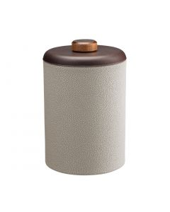 Tall Ice Bucket w/ Dome Material w/ Brown Wood Disk: SHAGREEN PARCHMENT
