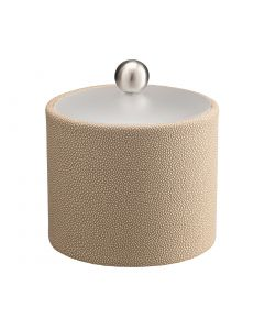 1qt Ice Bucket w/ Acrylic Cover w/ Brushed Stainless Ball Knob: SHAGREEN FAWN