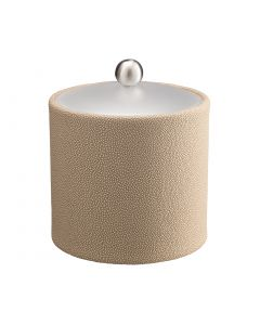 2qt Ice Bucket w/ Acrylic Cover w/ Brushed Stainless Ball Knob: SHAGREEN FAWN
