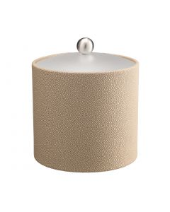 3qt Ice Bucket w/ Acrylic Cover w/ Brushed Stainless Ball Knob: SHAGREEN FAWN