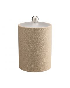 TALL Ice Bucket w/ Acrylic Cover w/ Brushed Stainless Ball Knob: SHAGREEN FAWN